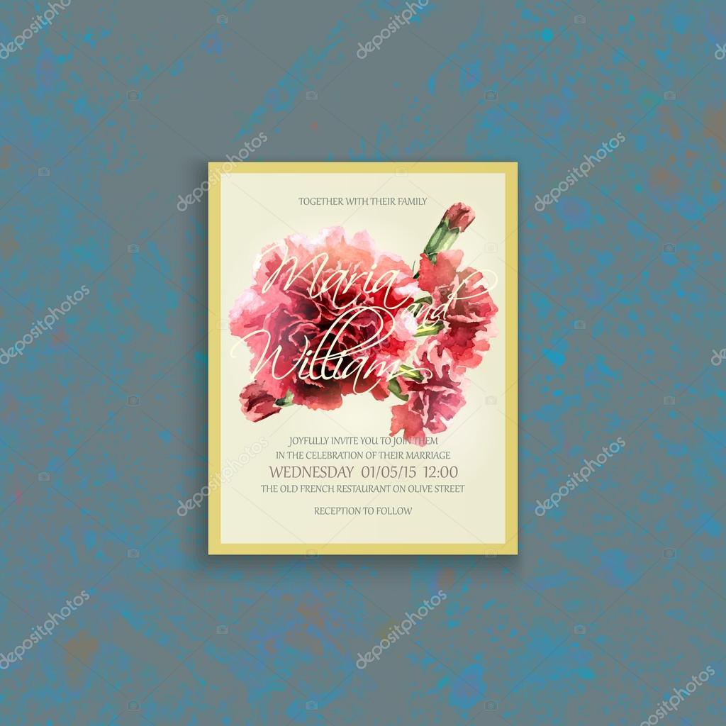 Einladungskarte Hochzeit mit Aquarell rote Nelke — Stockvektor © de ...