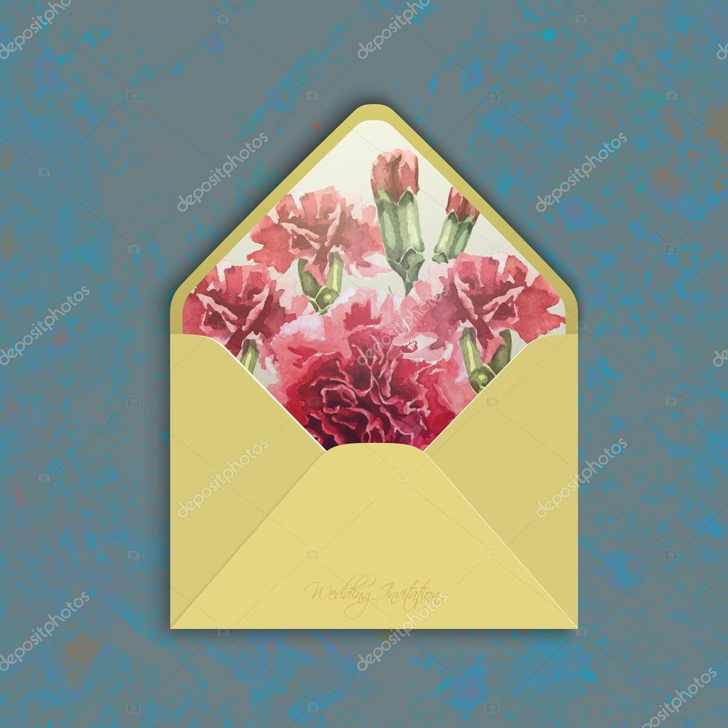 Invitation envelope with watercolor carnation flowers.
