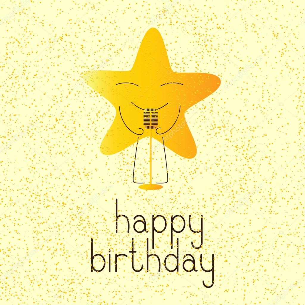 Happy Birthday Greeting Card With Musical Star Character Stock