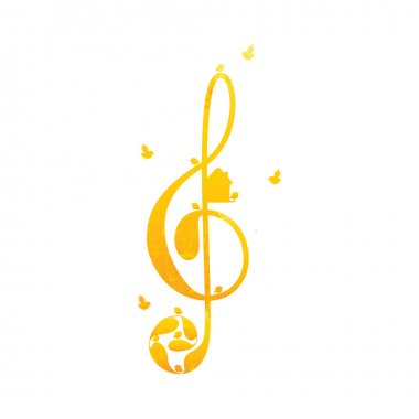 Vintage golden colored treble clef with birds