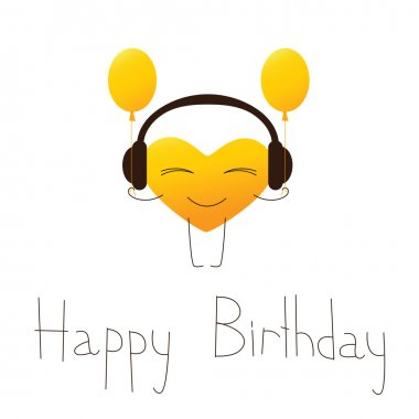 Happy birthday greeting card with musical heart