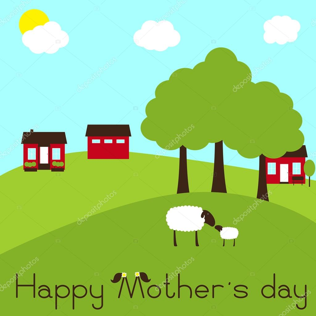 Happy Mother's day card with sheep and lamb on farm ...