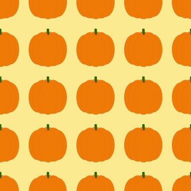 Seamless background with repeating orange pumpkins arranged in straight rows and isolated on ginger background. Ideal for holiday decoration, wrapping paper, wallpaper, gift boxes, other packing elements stock vector