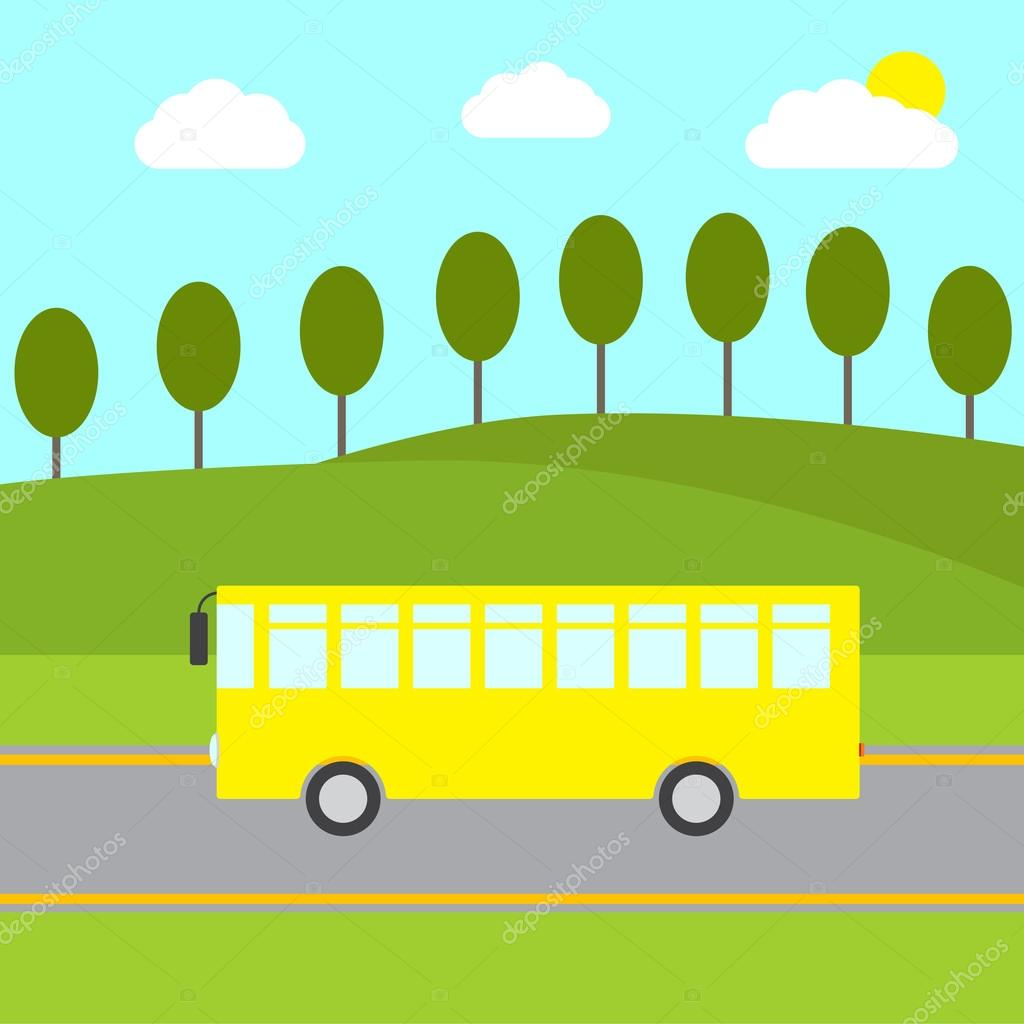 Yellow bus in rural landscape