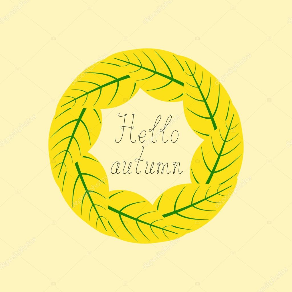 Hello autumn lettering in round frame