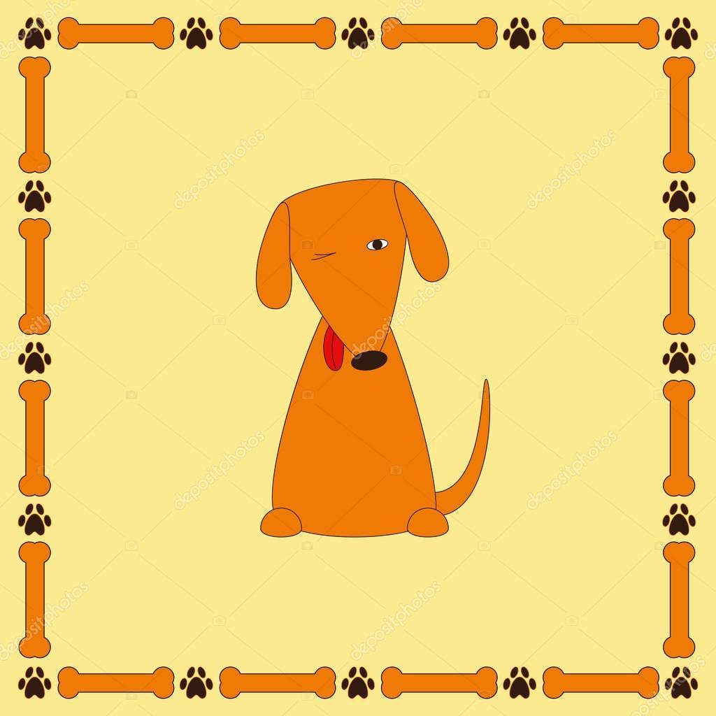 Lindo perro foxy con la que sobresale la lengua en el marco con los ...