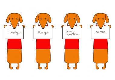Set of four cute orange colored brown contoured dachshunds in read sweaters with white collars holding plates with different lettering in their paws isolated on white background. Flat style illustration stock vector