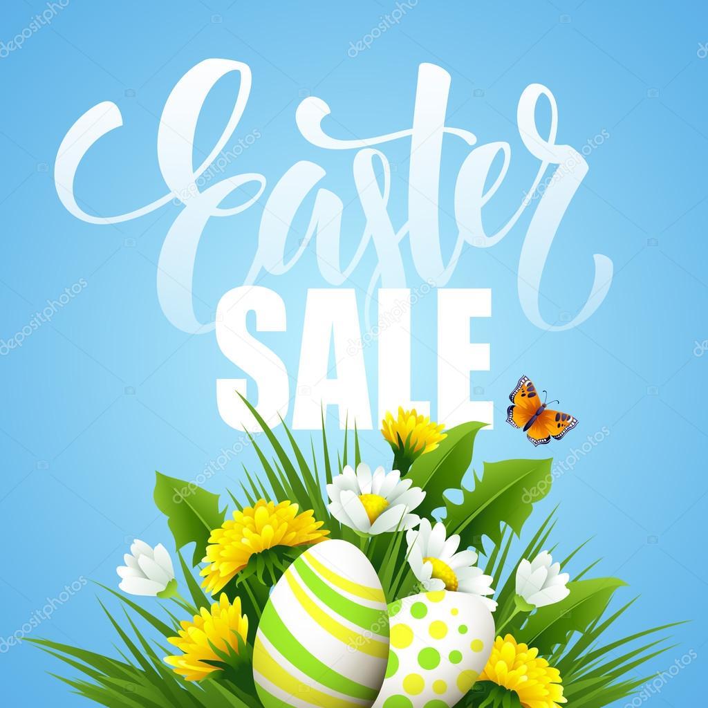 Easter greeting. Lettering Flower Egg. Vector illustration