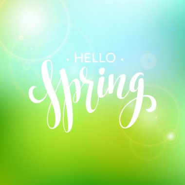 Hello Spring lettering design. Vector illustration