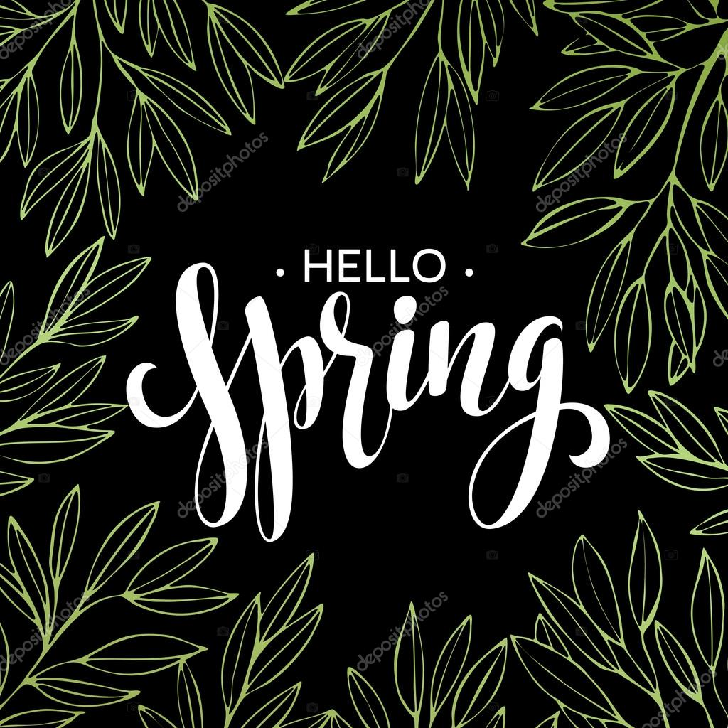Hello Spring Wreath Flowers Are Drawn With Chalk On Black Chalkboard