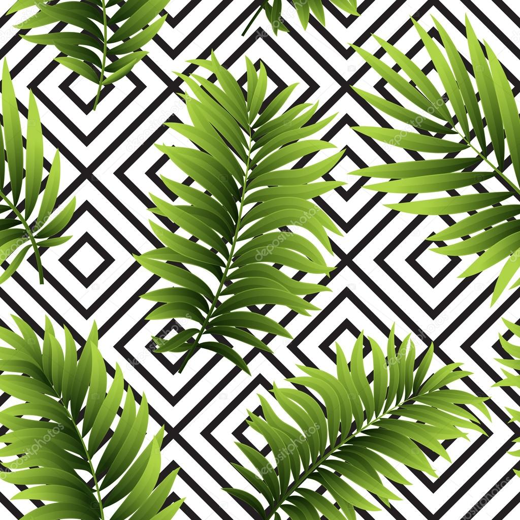 Tropical  palm leaves seamless geometric background. Vector illustration