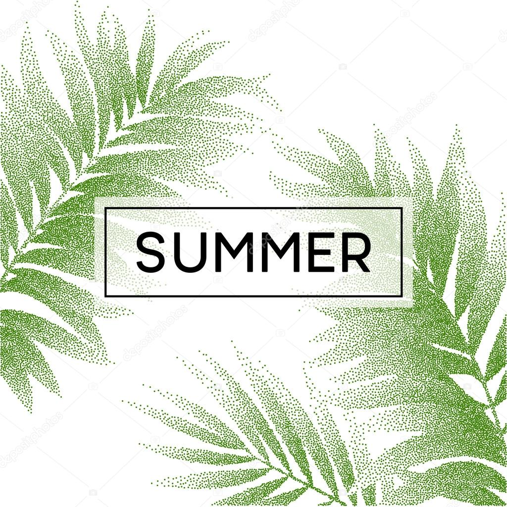 Tropical palm leaves design for text card. Vector illustration