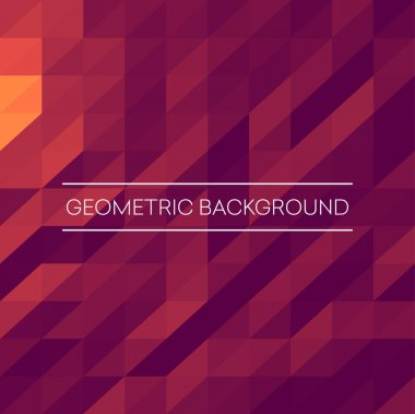 Abstract mosaic background. Pink, purple, orange triangles geometric background. Design elements. Vector illustration