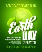 Fényképek Föld Napja poszter. Vektoros illusztráció a föld nap betűkkel, a bolygók és a zöld levelek
