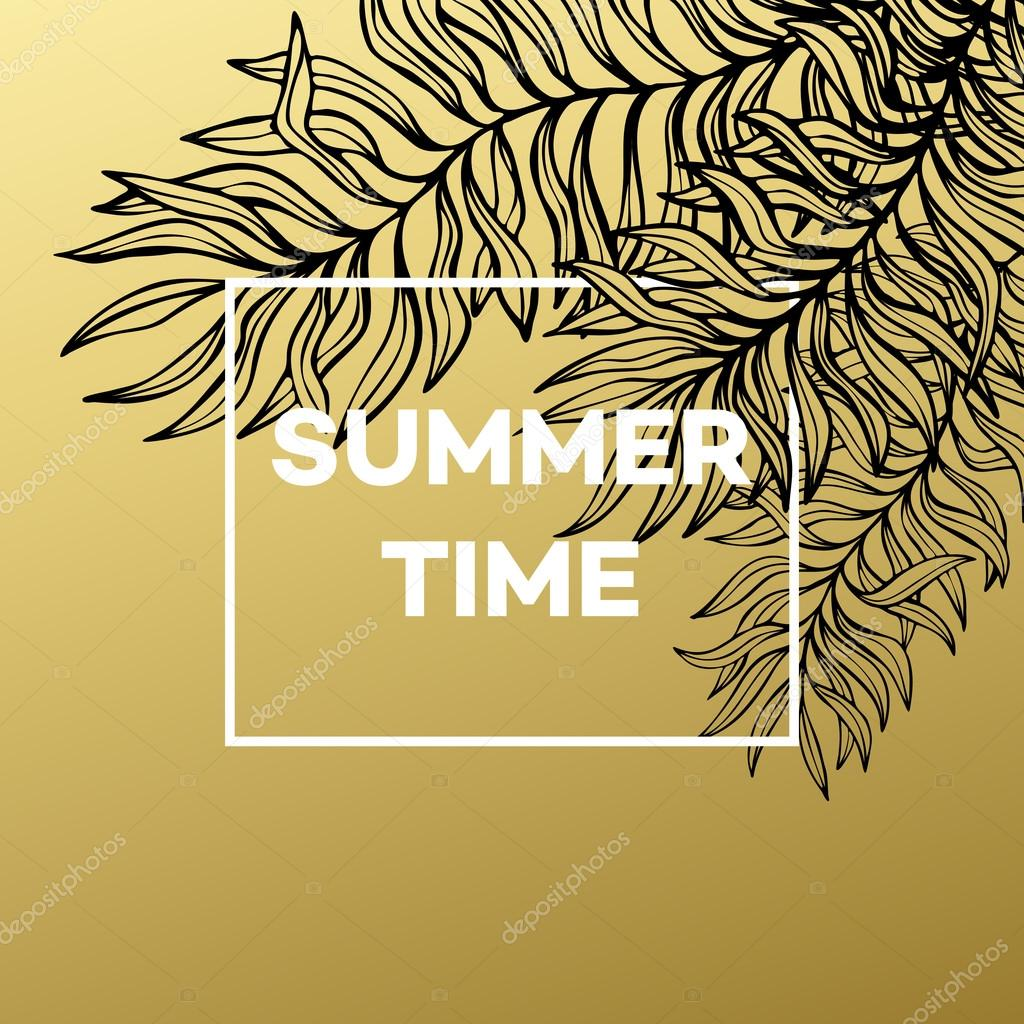 Summer tropical background of palm leaves and golden text and frame.  Vector illustration
