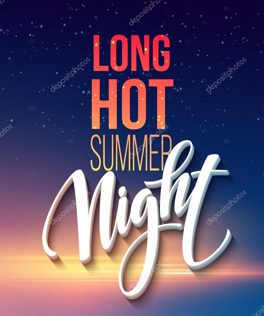 Hot Summer Night Party Poster Design with typographic elements on the sea beach background . Vector illustration