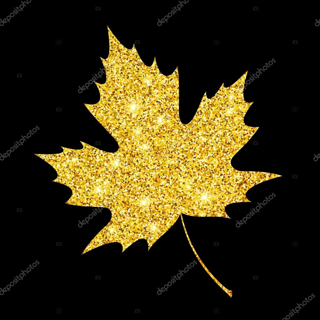 Golden glitter textured fall leaf. Autumn gold design. Vector illustration