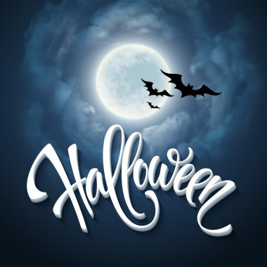 Halloween design with full moon with blue sky. Vector illustration