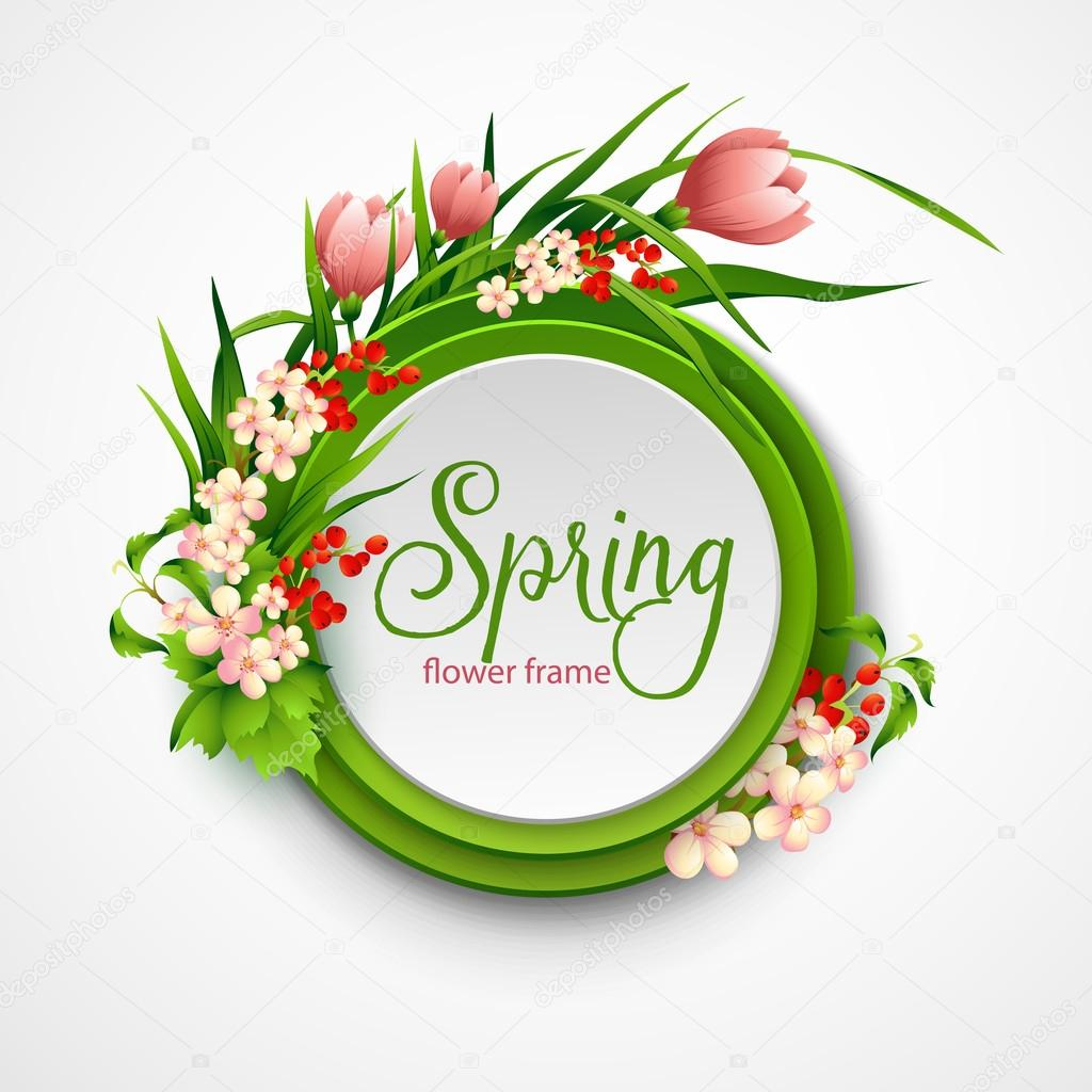 Spring frame with flowers. Vector illustration