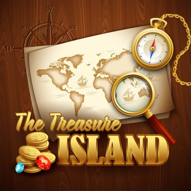 Treasure Island. Vector template