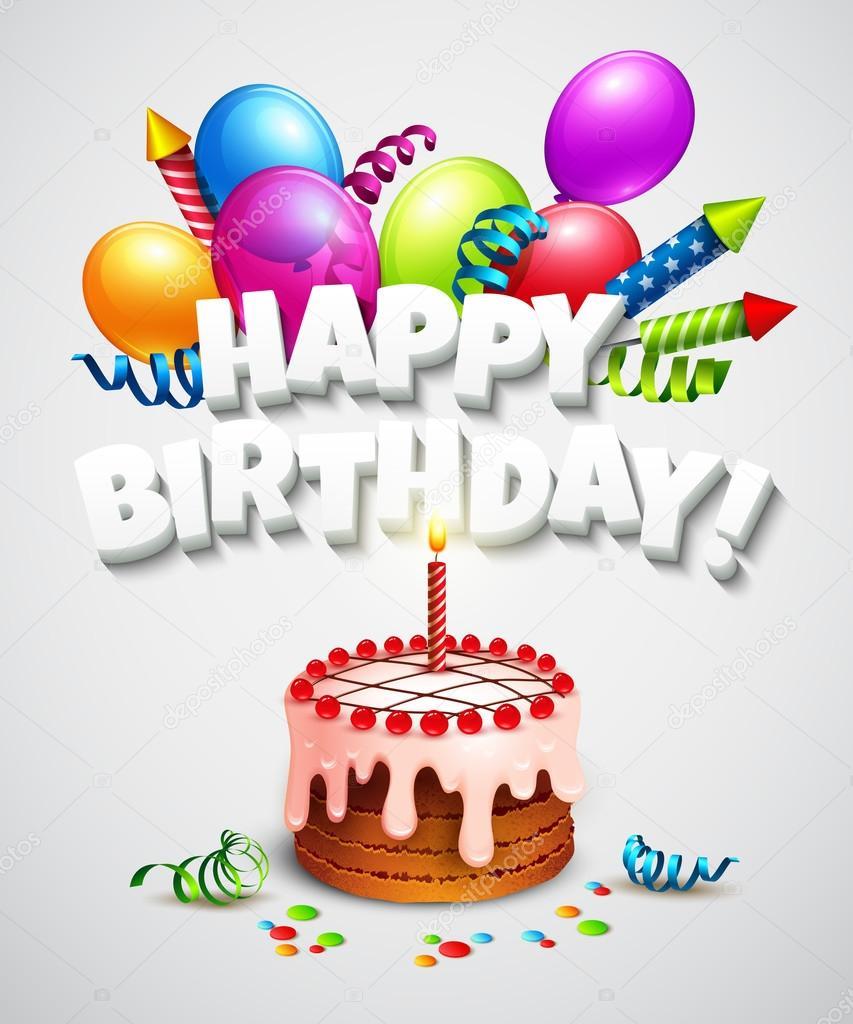 grattis på födelsedagen tårta Grattis på födelsedagen kort — Stock Vektor © Vik_Y #68795297 grattis på födelsedagen tårta