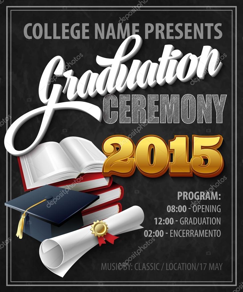 Graduation Ceremony. Poster template. Vector illustration — Stock ...