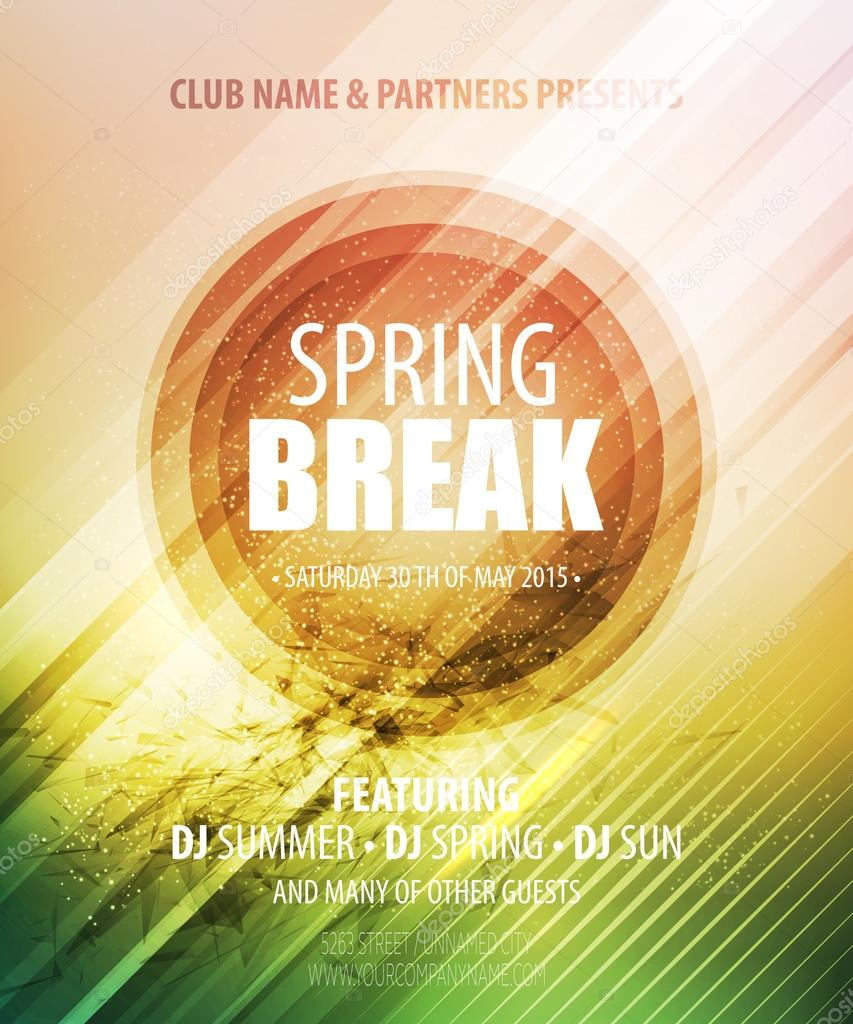 Spring Break Party. Template poster. Vector illustration