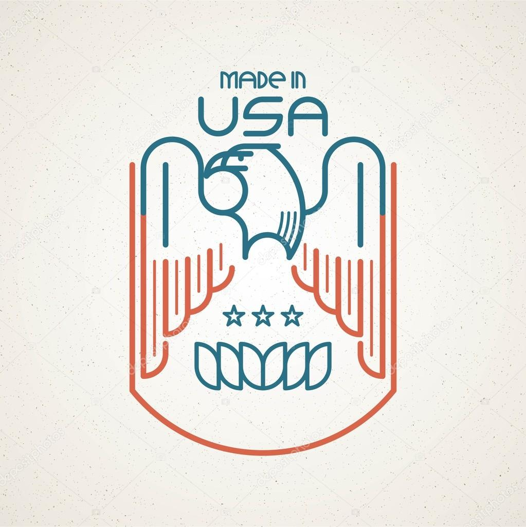Made in the usa symbol with american flag and eagle templates made in the usa symbol with american flag and eagle templates emblems vector illustration buycottarizona