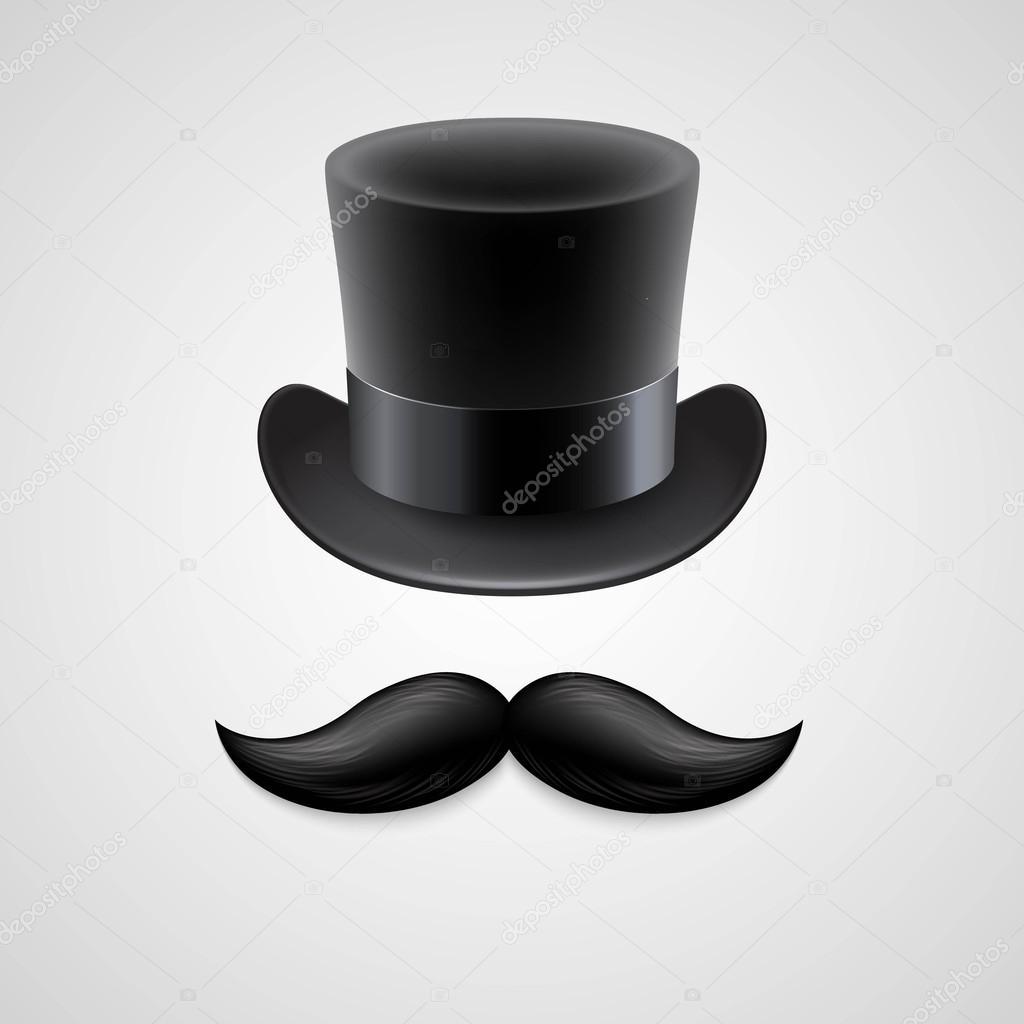 Vintage  top hat, mustaches. Vector illustration