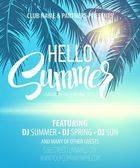 Fotografie Hello Summer Beach Party Flyer. Vector Design