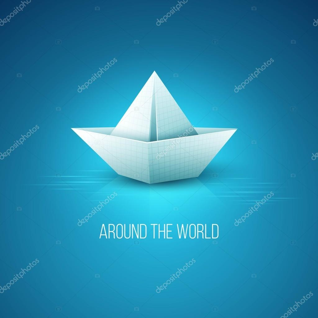 Origami paper boat . Vector illustration