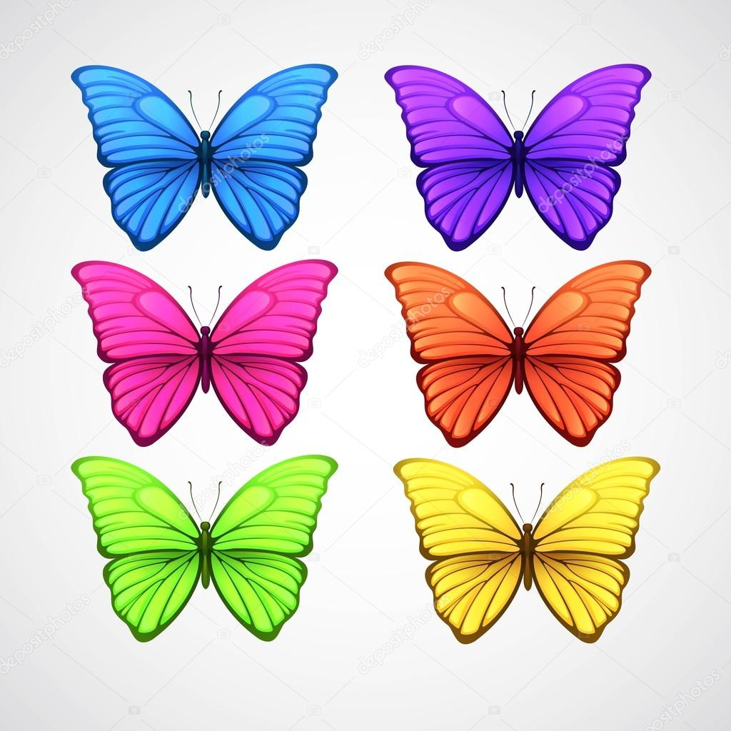 Collection of color butterfly vector icons. Vector illustration