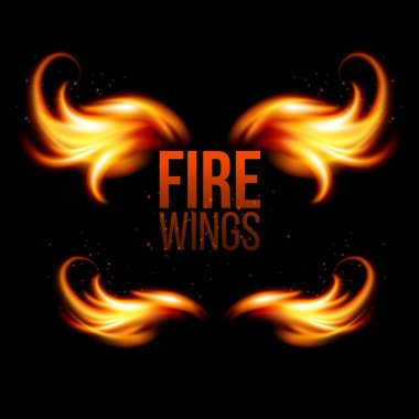 Wings in Flame and Fire. Illustration on black