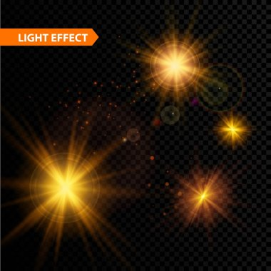 Set of  glowing light effect stars bursts with sparkles on transparent background. Vector illustration
