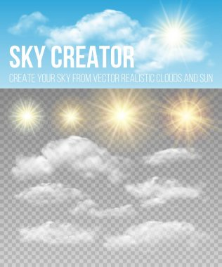 Sky creator. Set realistic clouds and sun. Vector illustration