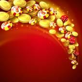 Fotografie Kasino pozadí s čipy, kostky a peníze. Vektorové ilustrace