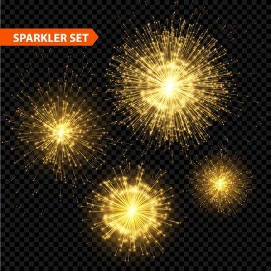 Set of transparent Christmas sparkler. Vector illustration