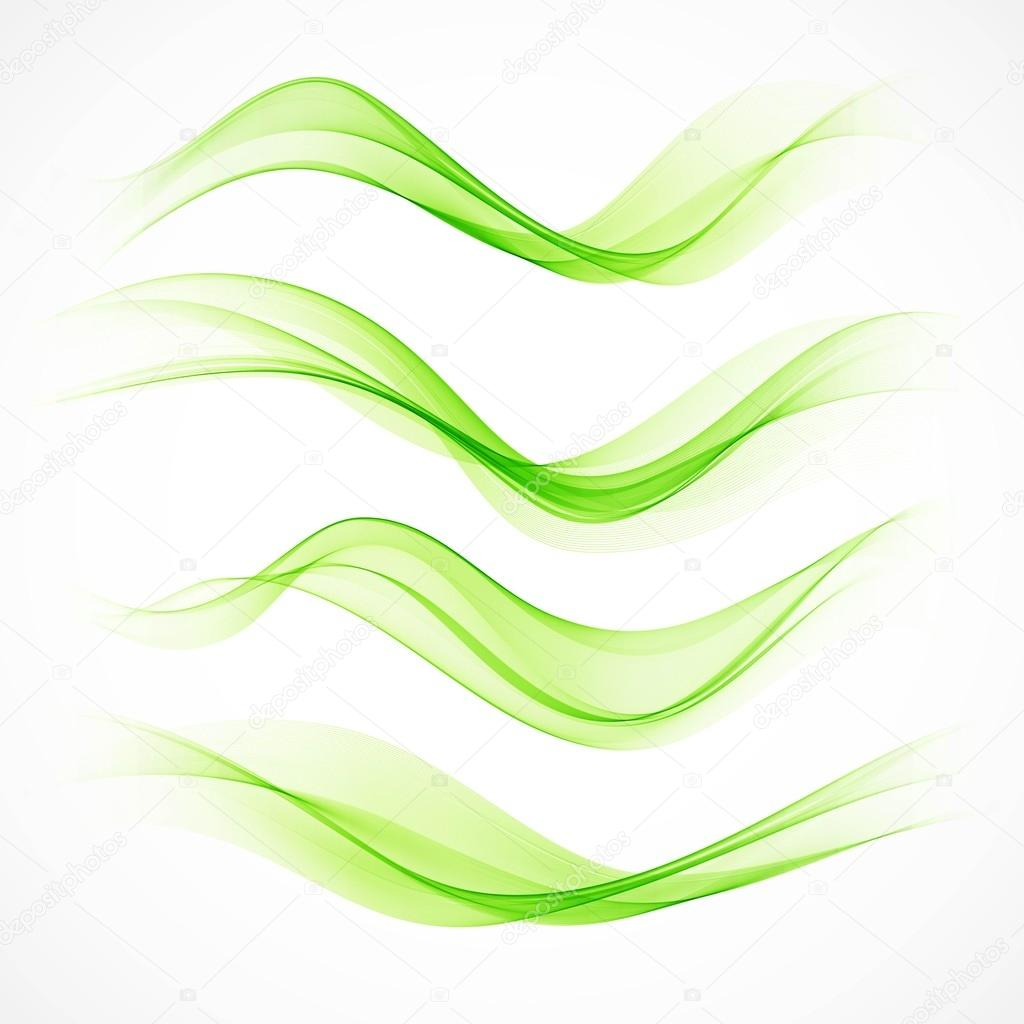Set of green wave. Vector illustration