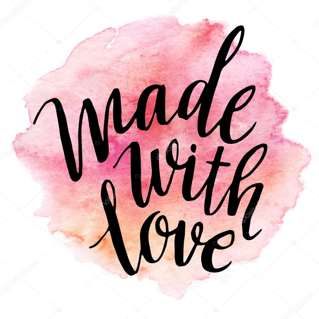 Made with love. Watercolor lettering. Vector illustration EPS 10 stock vector