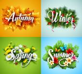Fotografie Four Seasons  Typographic Banner. Vector illustration