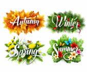 Quattro stagioni tipografiche Banner. Illustrazione di vettore