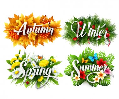 Four Seasons  Typographic Banner. Vector illustration EPS 10 stock vector