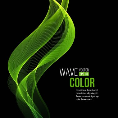 Abstract  transparent green waves on black background. Vector illustration