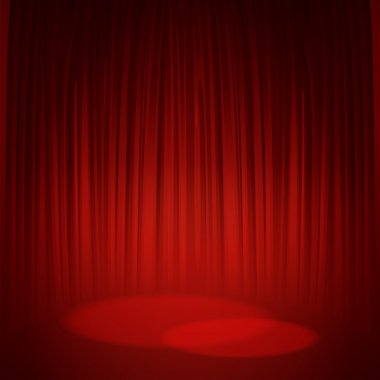 Theater stage with red curtain. Vector illustration EPS 10 stock vector