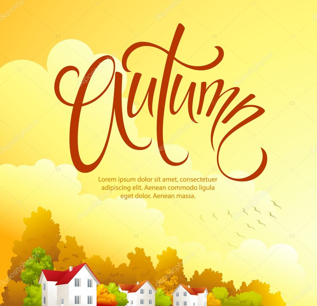 Autumn rural landscape. Vector illustration