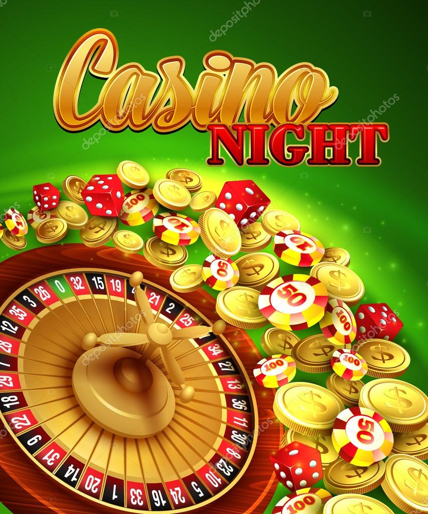 Casino night. Vector Illustration with roulette, coins