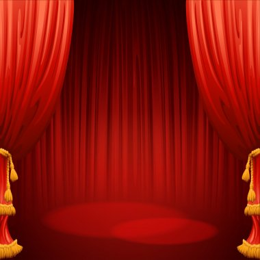 Theater stage with red curtain. Vector illustration EPS 10 clip art vector