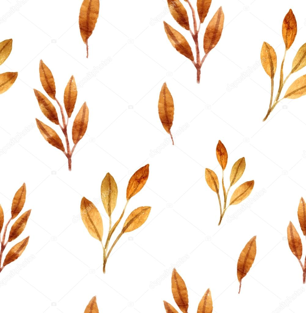 Colorful autumn leaves seamless pattern. Watercolor painting. Vector illustration