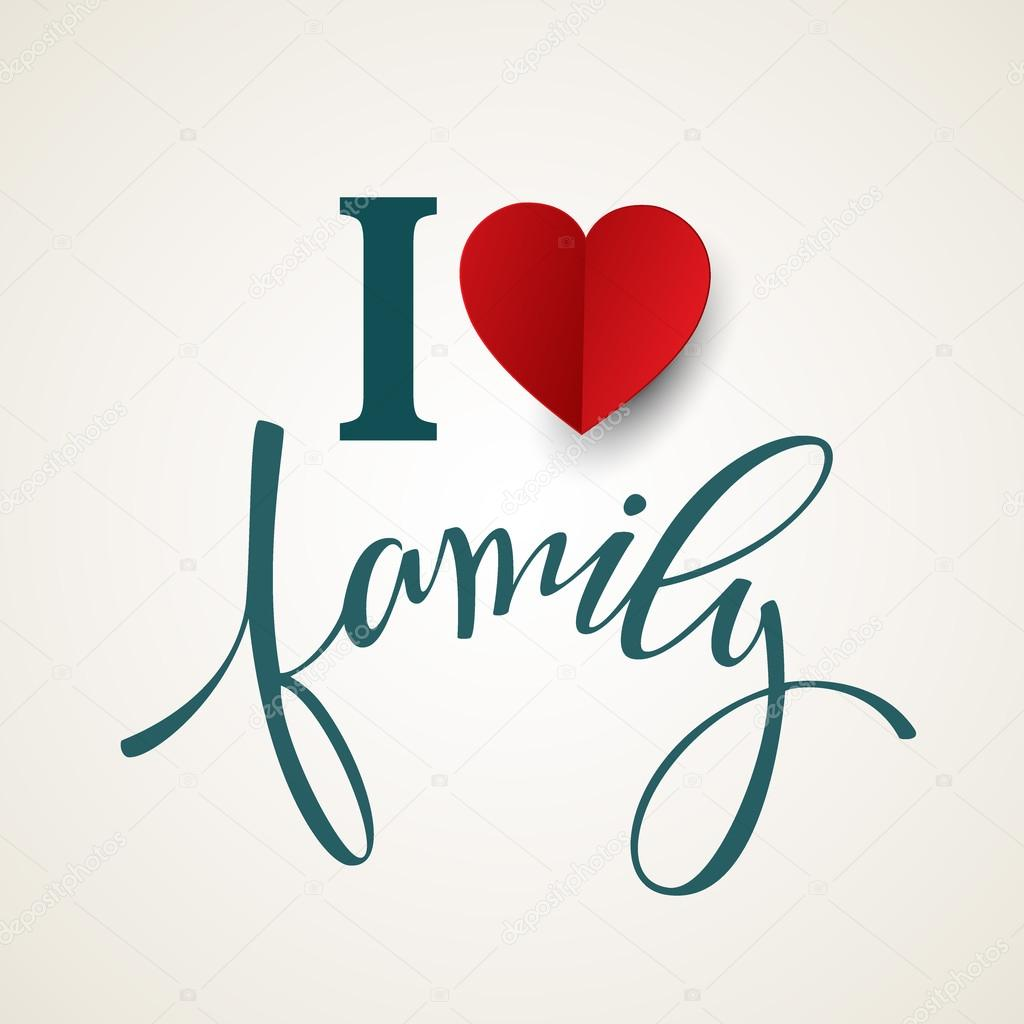 Hand drawn lettering. Family. Vector illustration
