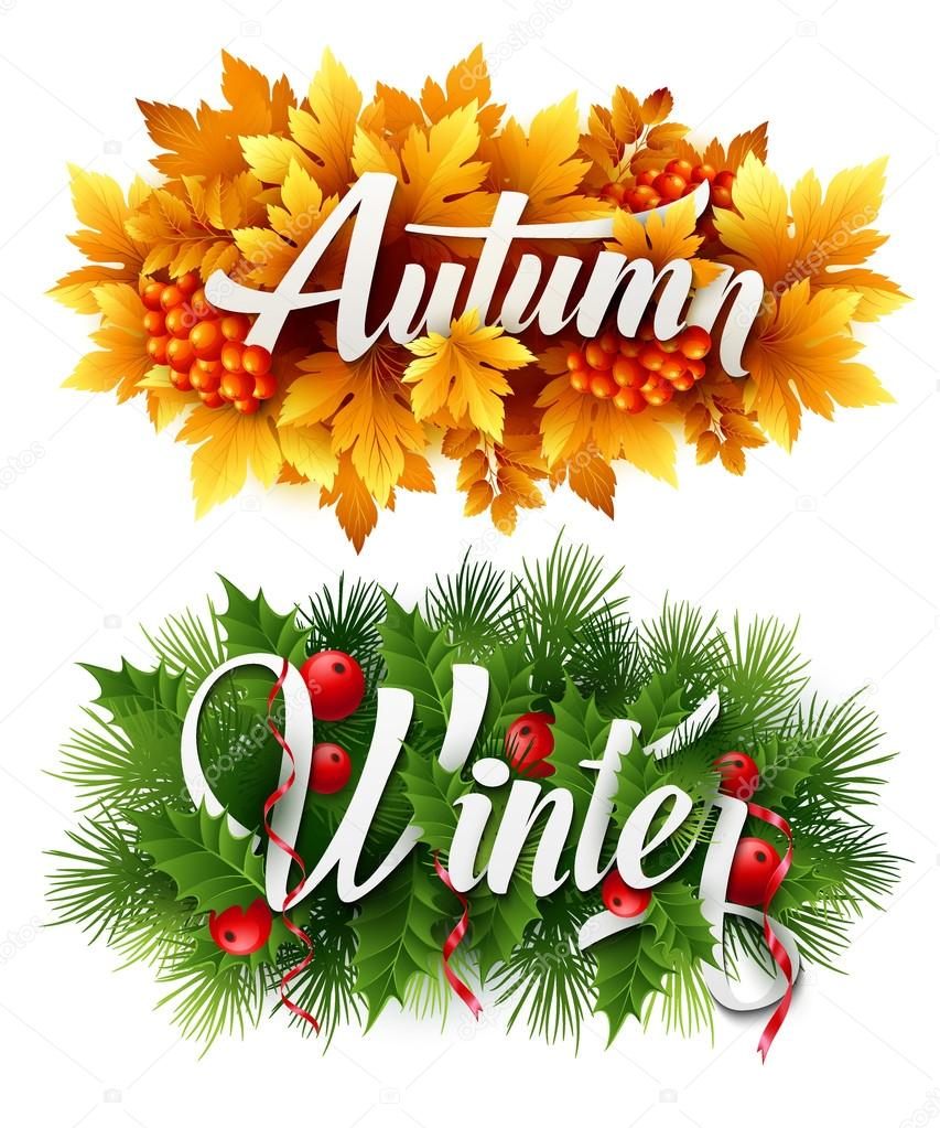 Auyumn and Winter Typographic Banner. Vector illustration